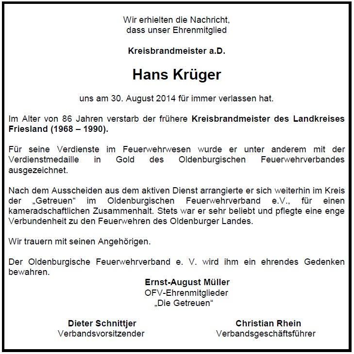 Traueranzeige Krüger