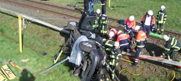 21.04.2015 – Pkw prallt auf Bahnübergang mit Zug zusammen
