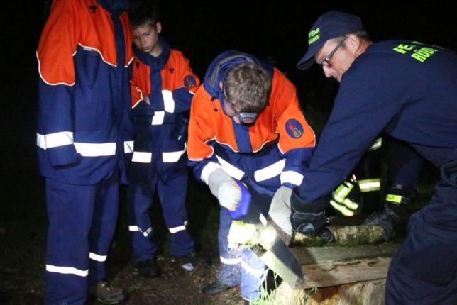 Beim Orientierungsmarsch musste man ein 300 Gramm Holzstück vom Stamm sägen. / Bild: Christian Bahrs